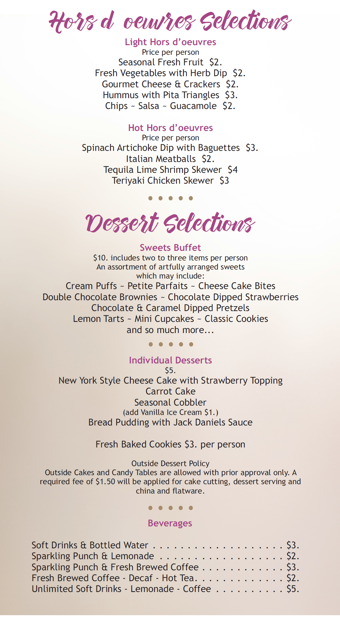 Wedding & Special Events Menu 3